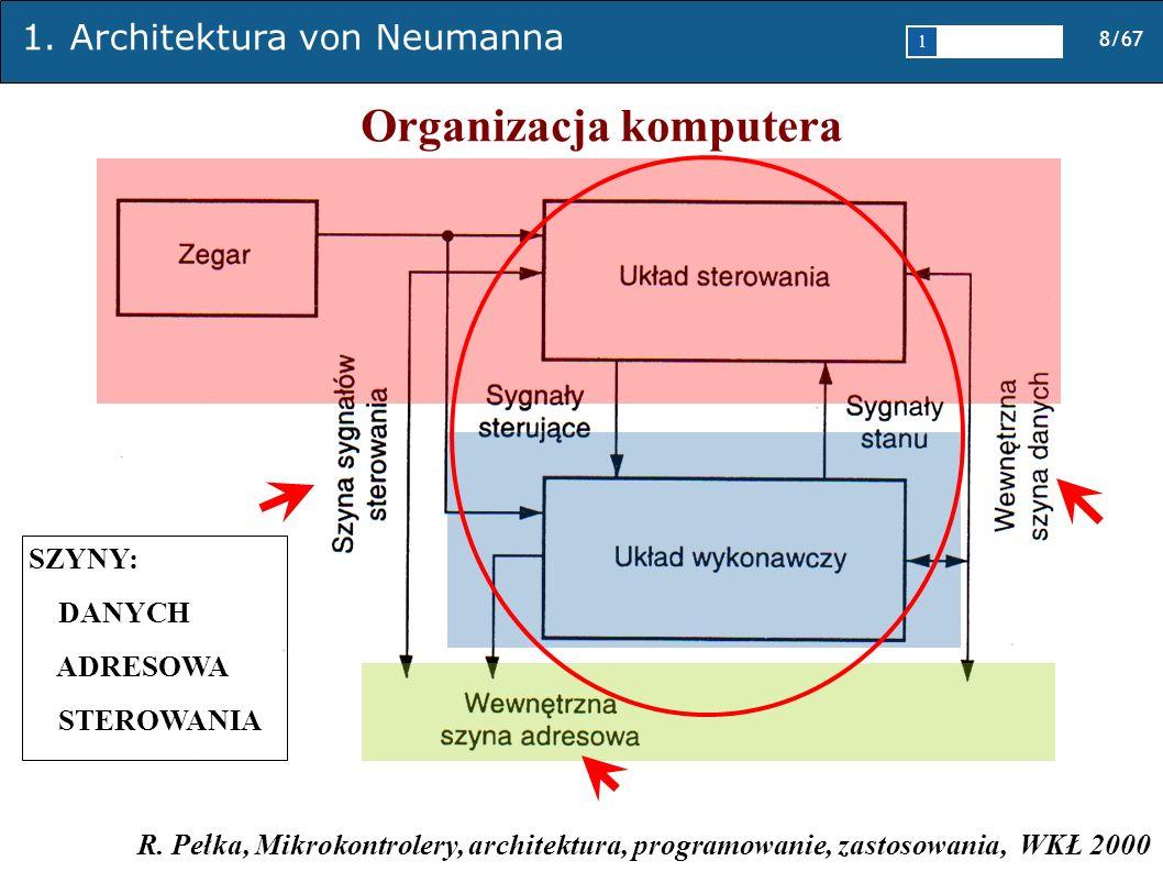 1. Architektura von Neumanna 8/67 1 2345 Organizacja komputera R. Pełka, Mikrokontrolery, architektura, programowanie, zastosowania, WKŁ 2000 SZYNY: D