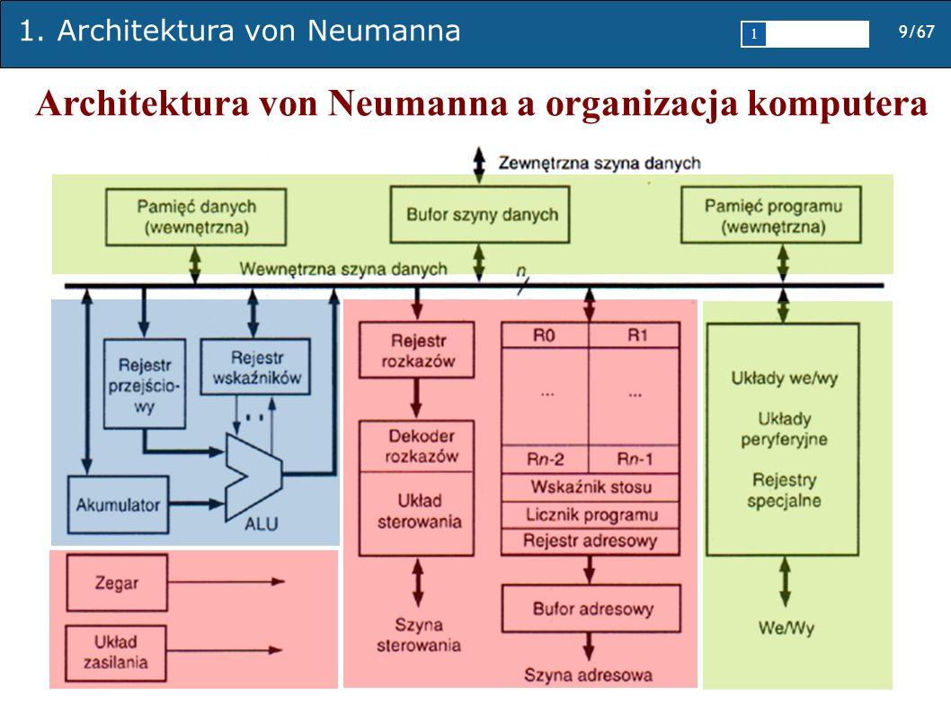 1. Architektura von Neumanna 9/67 1 2345 Architektura von Neumanna a organizacja komputera