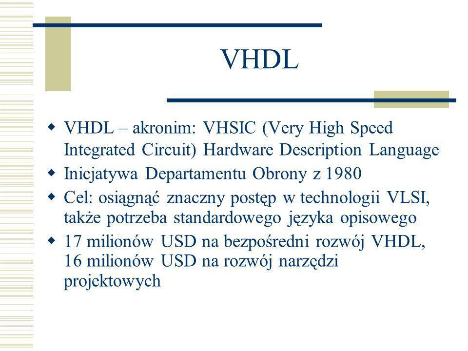 VHDL W 1983 kontrakt na rozwój VHDL przyznany zespołowi Intermetrics, IBM i Texas Instruments W 1987 VHDL został standardem IEEE 1076- 1987, w 1988 – standardem ANSI W 1993 – druga rewizja standardu VHDL VHDL jest też standardem europejskim IEC 61691