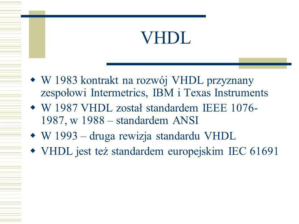 VHDL - zalety Pozwala stosować różne metodologie projektowe (od ogółu do szczegółu, od szczegółu do ogółu) Niezależny od technologii implementacyjnej Możliwy opis o różnym stopniu abstrakcji (od black box do poziomu bramek) Standard językowy ułatwia komunikację, dokumentację, rozwój narzędzi Pozwala dobrze zarządzać projektem m.in.