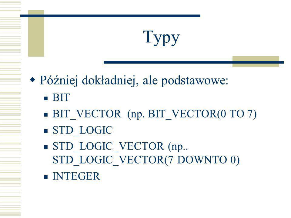 Typy Później dokładniej, ale podstawowe: BIT BIT_VECTOR (np. BIT_VECTOR(0 TO 7) STD_LOGIC STD_LOGIC_VECTOR (np.. STD_LOGIC_VECTOR(7 DOWNTO 0) INTEGER