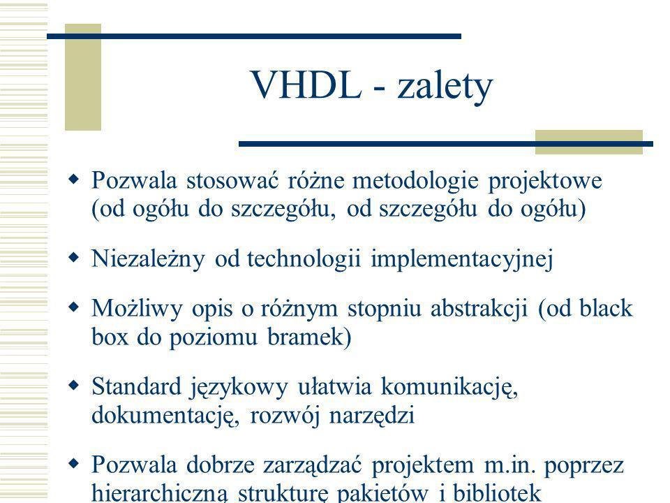 VHDL - zalety Pozwala stosować różne metodologie projektowe (od ogółu do szczegółu, od szczegółu do ogółu) Niezależny od technologii implementacyjnej