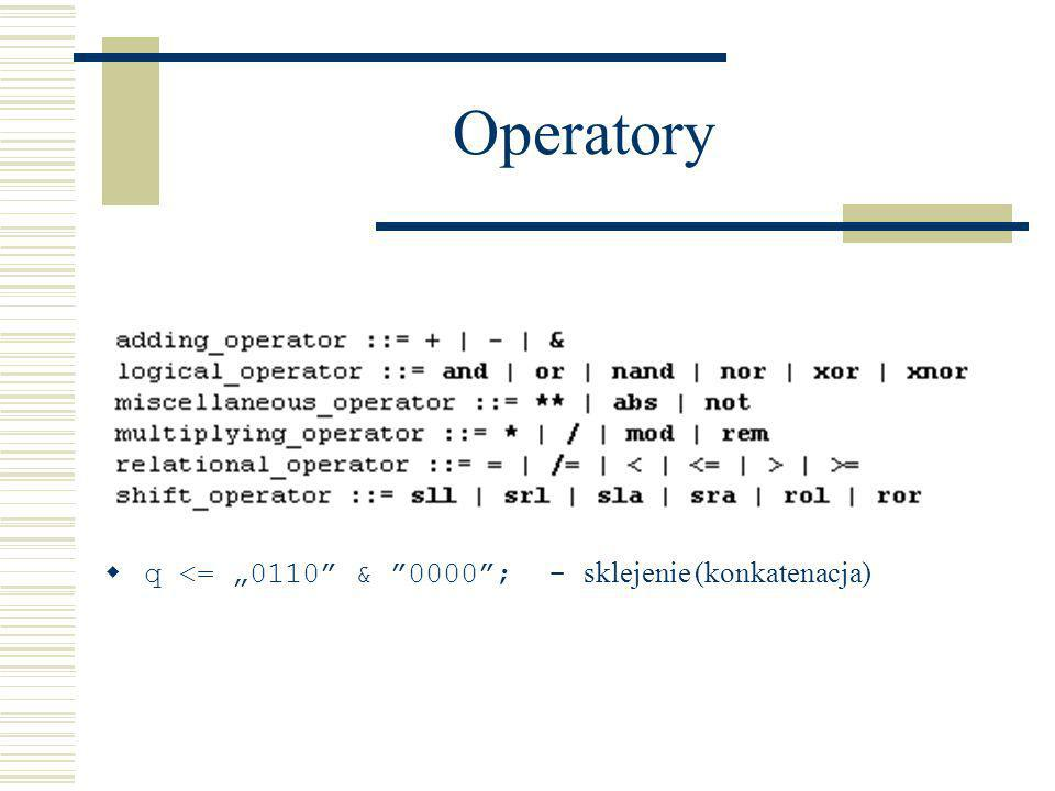 Operatory q <= 0110 & 0000; - sklejenie (konkatenacja)