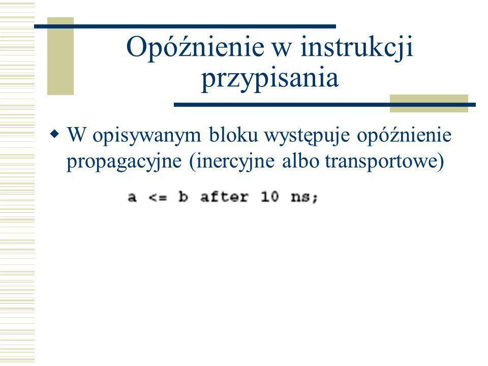 Opóźnienie w instrukcji przypisania W opisywanym bloku występuje opóźnienie propagacyjne (inercyjne albo transportowe)