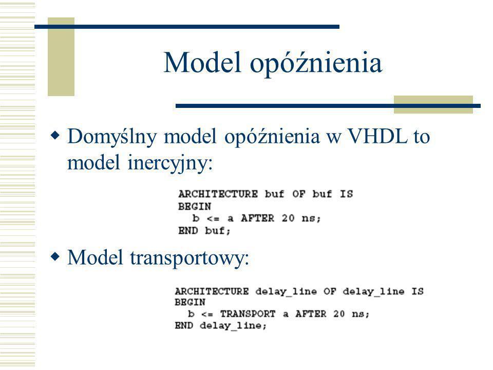 Model opóźnienia Domyślny model opóźnienia w VHDL to model inercyjny: Model transportowy: