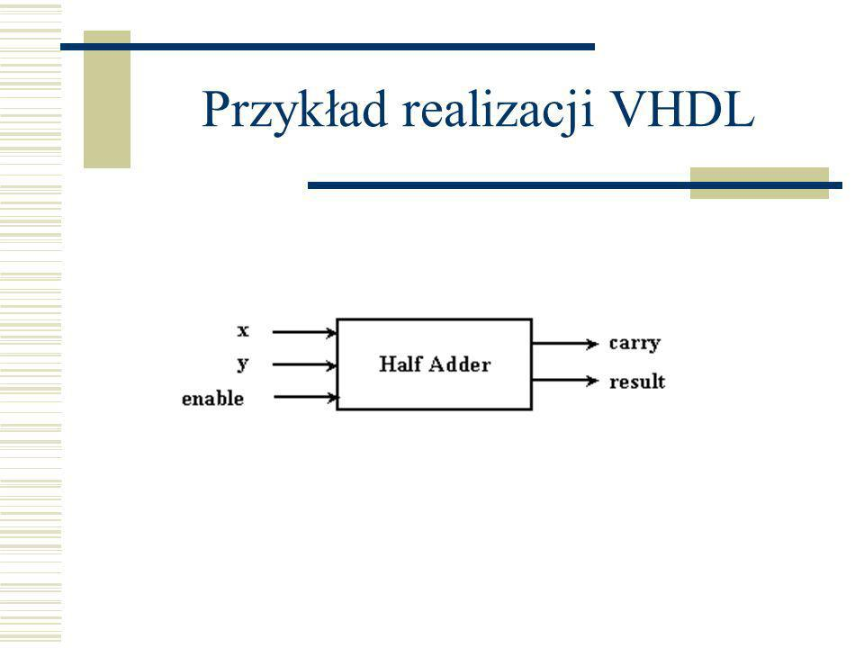 Sygnały Wewnętrzne deklaracje sygnałów w architekturze: Sygnały: kanały komunikacyjne - przewody każdy sygnał ma swoją historię (może być zanotowana zmiana sygnału) sygnał może być ustawiany przez jedno lub więcej źródeł (nośniki – drivers); jeśli źródeł jest wiele (równoległe procesy), to potrzebne jest rozstrzyganie (resolution) konfliktów (która wartość wygrywa)
