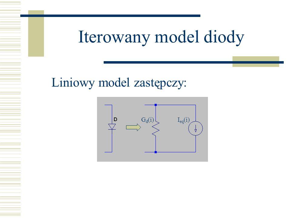 Iterowany model diody G d (i)I eq (i) Liniowy model zastępczy: