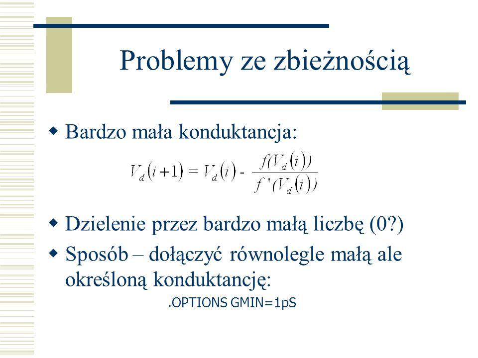 Problemy ze zbieżnością Bardzo mała konduktancja: Dzielenie przez bardzo małą liczbę (0?) Sposób – dołączyć równolegle małą ale określoną konduktancję
