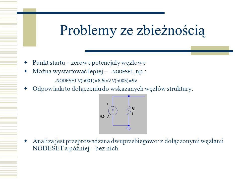 Problemy ze zbieżnością Punkt startu – zerowe potencjały węzłowe Można wystartować lepiej –.NODESET, np.:.NODESET V(n001)=8.5mV V(n005)=9V Odpowiada t