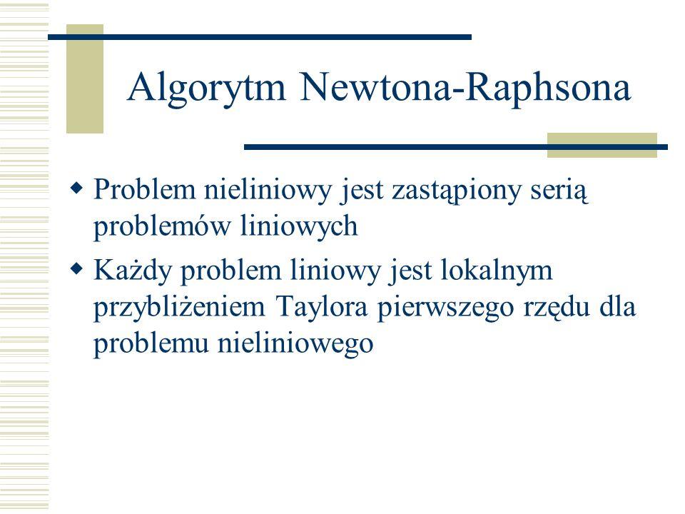 Algorytm Newtona-Raphsona Problem nieliniowy jest zastąpiony serią problemów liniowych Każdy problem liniowy jest lokalnym przybliżeniem Taylora pierw