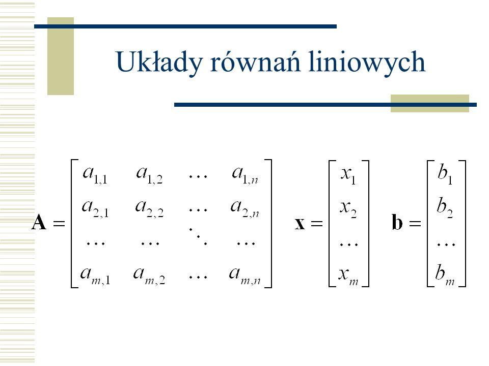 Zapis macierzowy: macierz o rozmiarach m x n (m równań/wierszy, n zmiennych/kolumn) wektor kolumnowy zmiennych o rozmiarach n x 1 (n wierszy/zmiennych) wektor kolumnowy wyrazów wolnych o rozmiarach m x 1 (m wierszy/wyrazów wolnych)