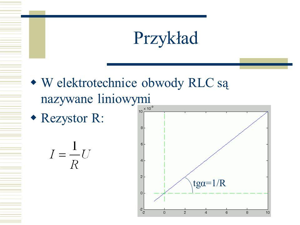 Przykład W elektrotechnice obwody RLC są nazywane liniowymi Rezystor R: tgα=1/R