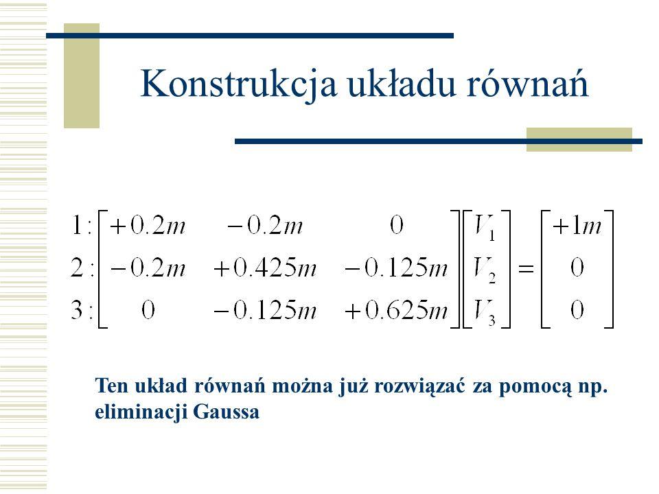 Konstrukcja układu równań Ten układ równań można już rozwiązać za pomocą np. eliminacji Gaussa
