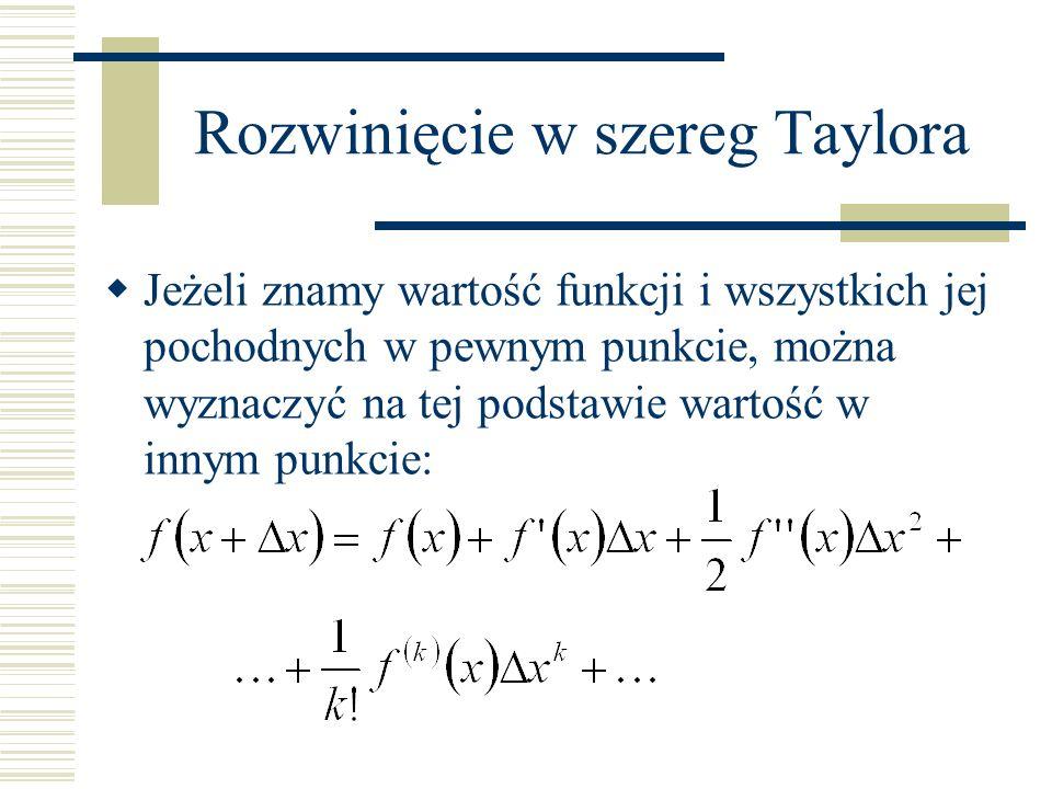 Rozwinięcie w szereg Taylora Jeżeli znamy wartość funkcji i wszystkich jej pochodnych w pewnym punkcie, można wyznaczyć na tej podstawie wartość w inn