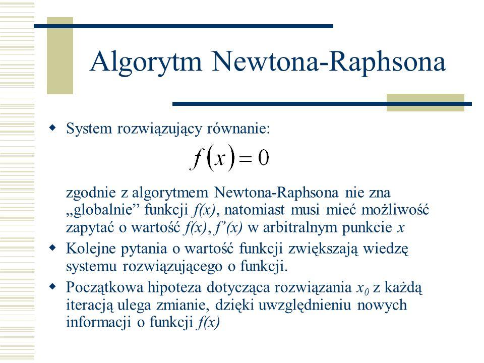 Algorytm Newtona-Raphsona System rozwiązujący równanie: zgodnie z algorytmem Newtona-Raphsona nie zna globalnie funkcji f(x), natomiast musi mieć możl