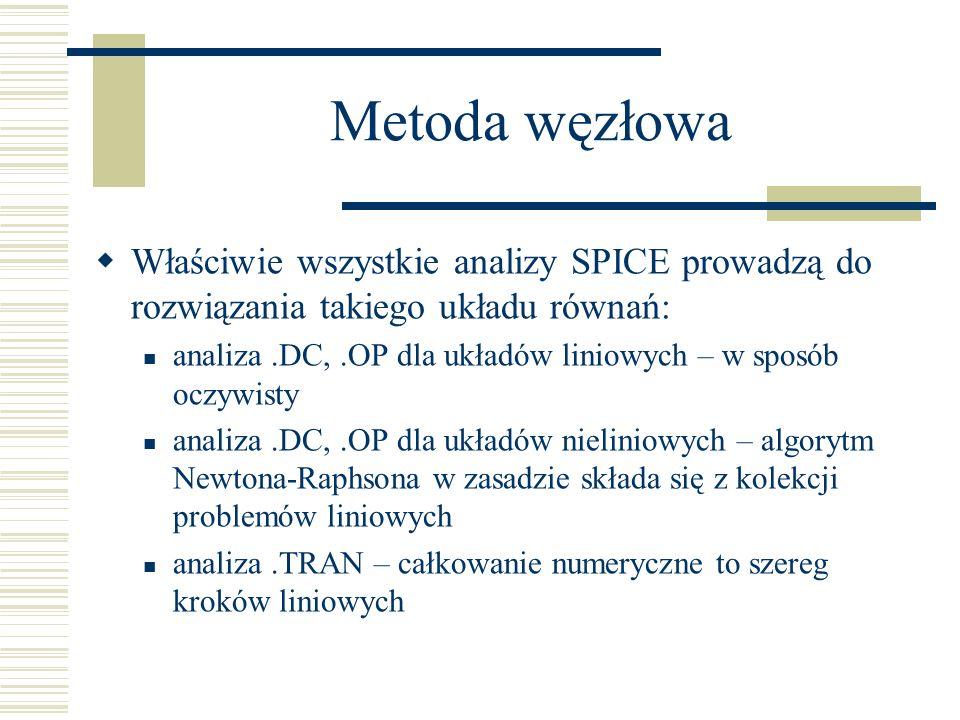 Właściwie wszystkie analizy SPICE prowadzą do rozwiązania takiego układu równań: analiza.DC,.OP dla układów liniowych – w sposób oczywisty analiza.DC,