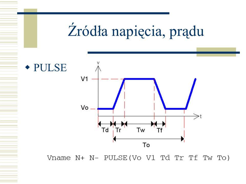 Źródła napięcia, prądu PULSE