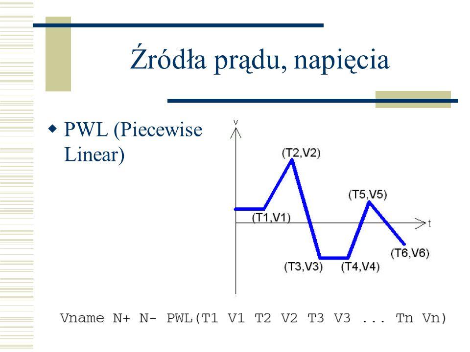 Źródła prądu, napięcia PWL (Piecewise Linear)
