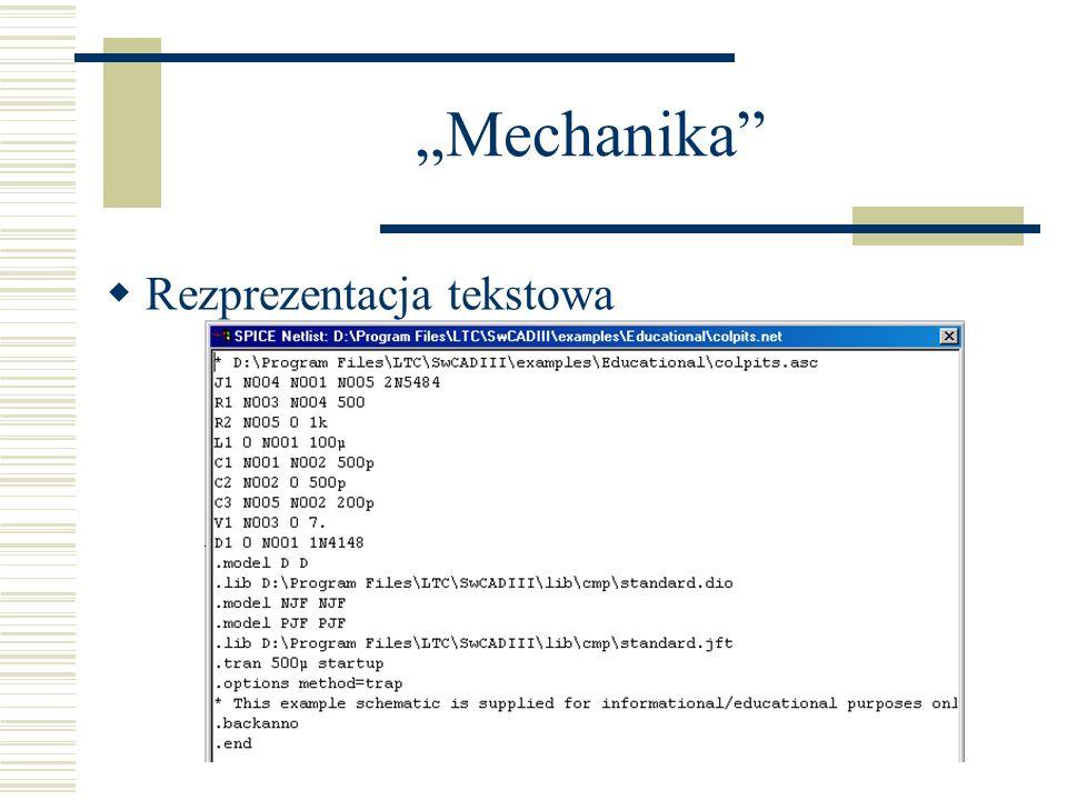 Mechanika Rezprezentacja tekstowa