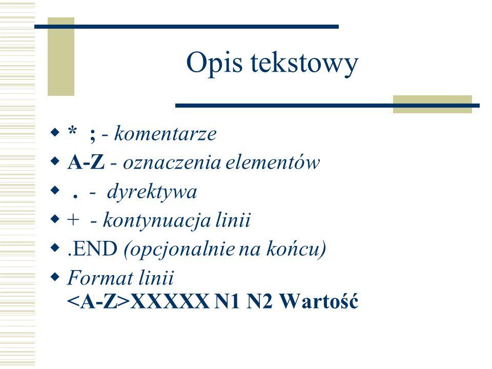 Opis tekstowy * ; - komentarze A-Z - oznaczenia elementów. - dyrektywa + - kontynuacja linii.END (opcjonalnie na końcu) Format linii XXXXX N1 N2 Warto