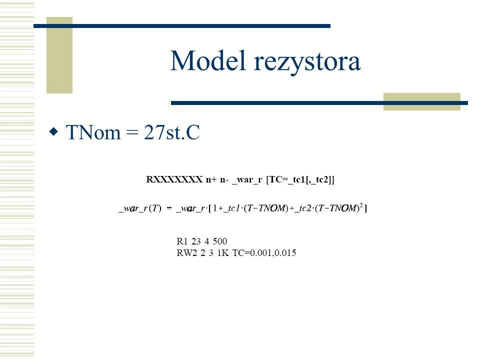 Model rezystora TNom = 27st.C
