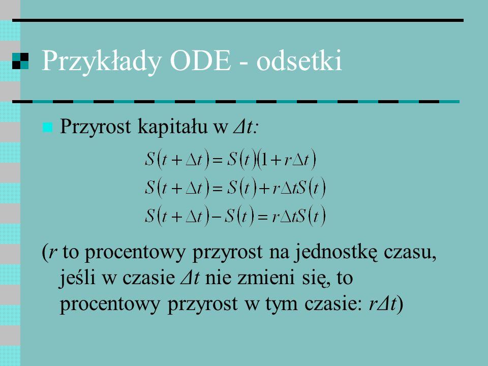 Przykłady ODE - odsetki Przyrost kapitału w Δt: (r to procentowy przyrost na jednostkę czasu, jeśli w czasie Δt nie zmieni się, to procentowy przyrost