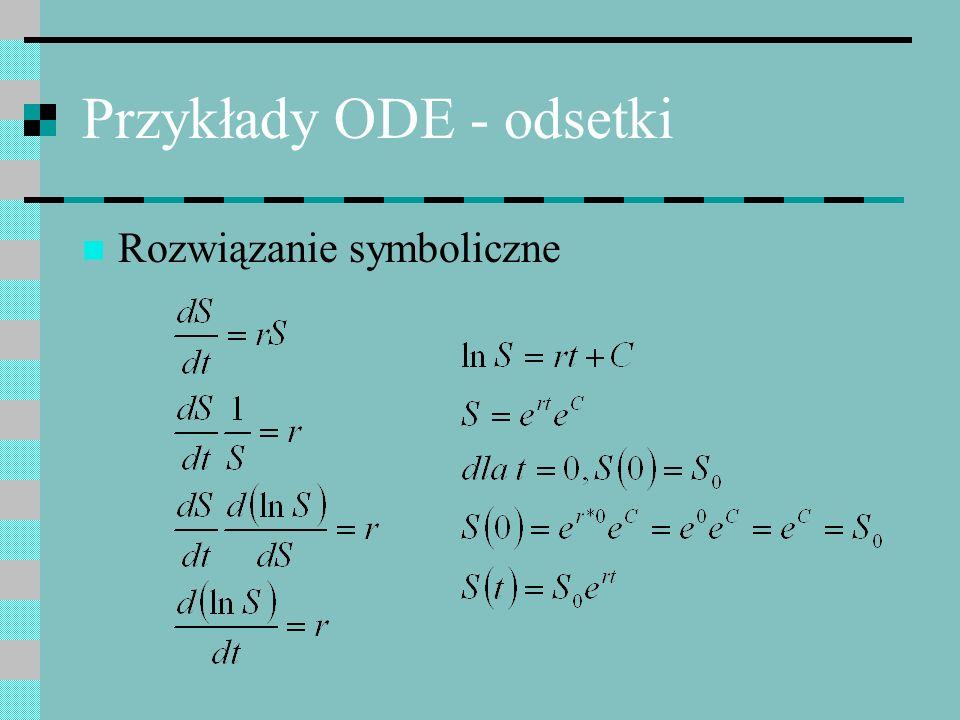 Przykłady ODE - odsetki Rozwiązanie symboliczne