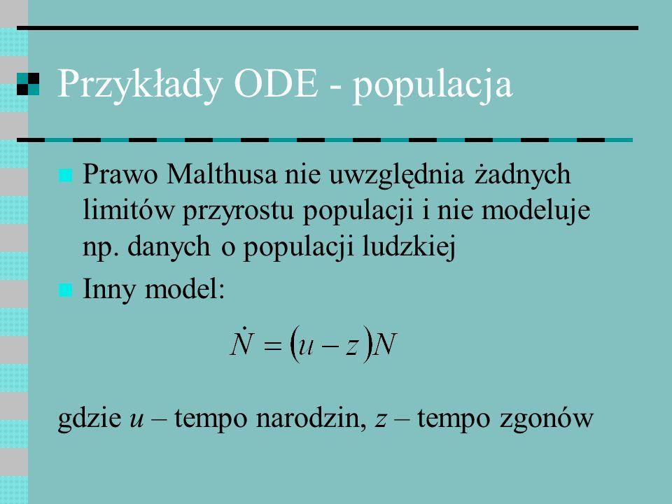Przykłady ODE - populacja Prawo Malthusa nie uwzględnia żadnych limitów przyrostu populacji i nie modeluje np. danych o populacji ludzkiej Inny model: