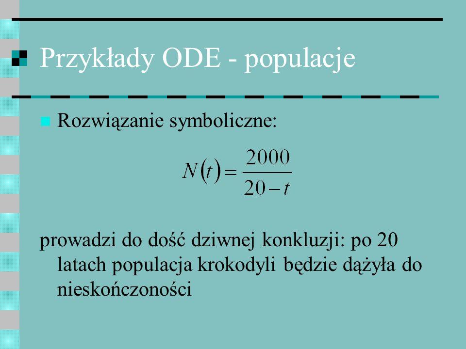 Przykłady ODE - populacje Rozwiązanie symboliczne: prowadzi do dość dziwnej konkluzji: po 20 latach populacja krokodyli będzie dążyła do nieskończonoś