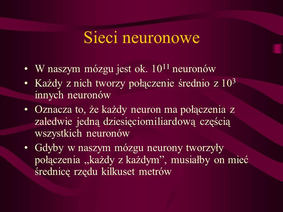 Sieci neuronowe W naszym mózgu jest ok. 10 11 neuronów Każdy z nich tworzy połączenie średnio z 10 3 innych neuronów Oznacza to, że każdy neuron ma po
