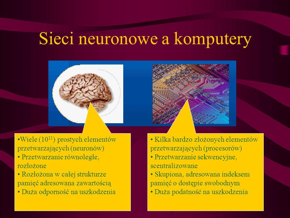 Sieci neuronowe a komputery Wiele (10 11 ) prostych elementów przetwarzających (neuronów) Przetwarzanie równoległe, rozłożone Rozłożona w całej strukt