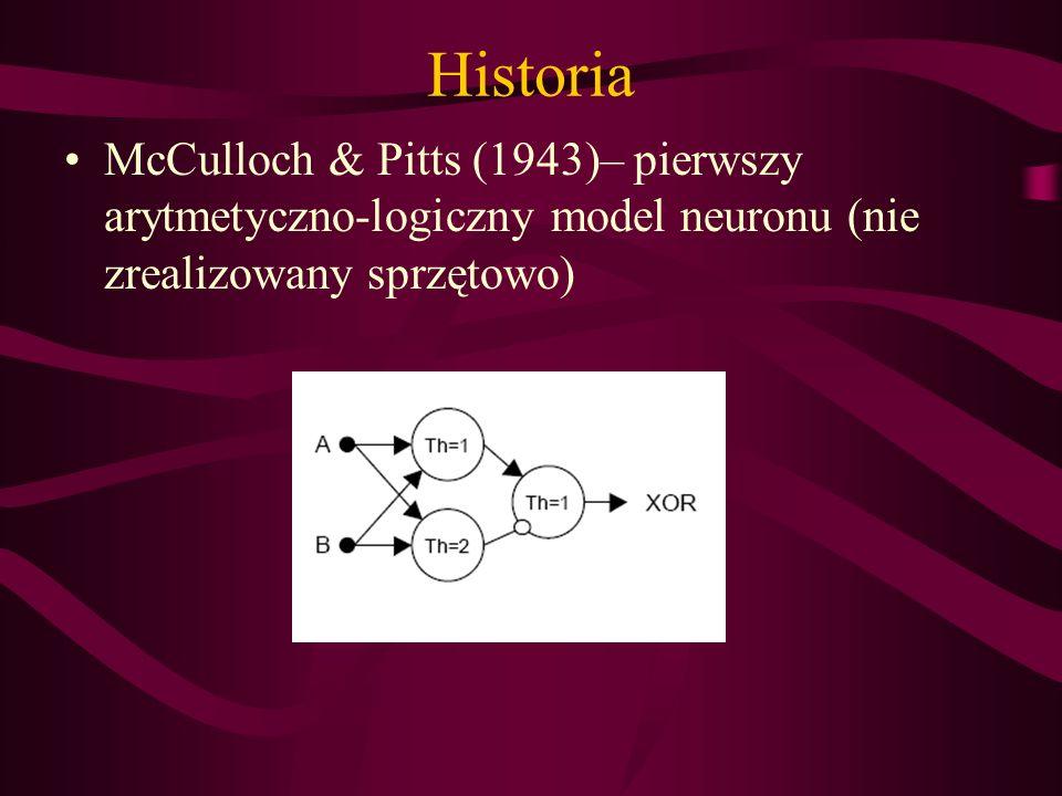 Historia McCulloch & Pitts (1943)– pierwszy arytmetyczno-logiczny model neuronu (nie zrealizowany sprzętowo)