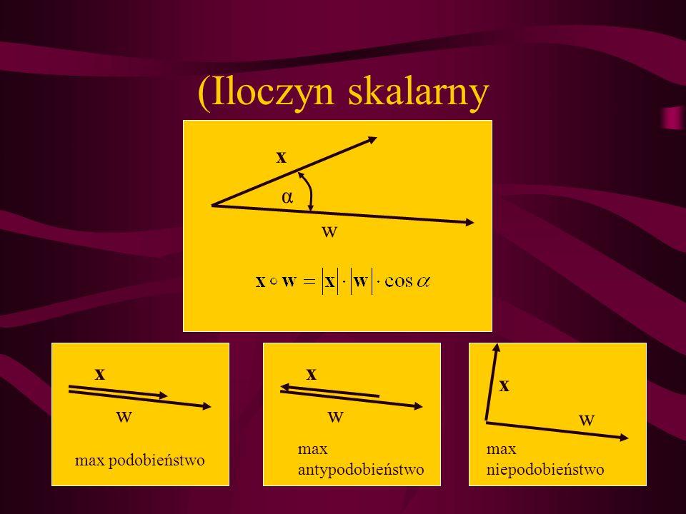 (Iloczyn skalarny α x w x w max podobieństwo x w max antypodobieństwo x w max niepodobieństwo