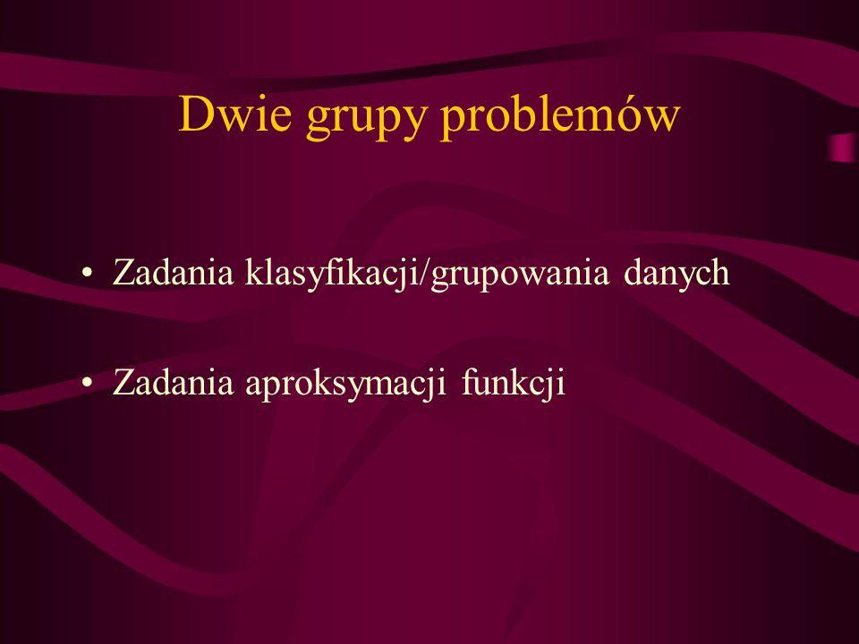 Dwie grupy problemów Zadania klasyfikacji/grupowania danych Zadania aproksymacji funkcji