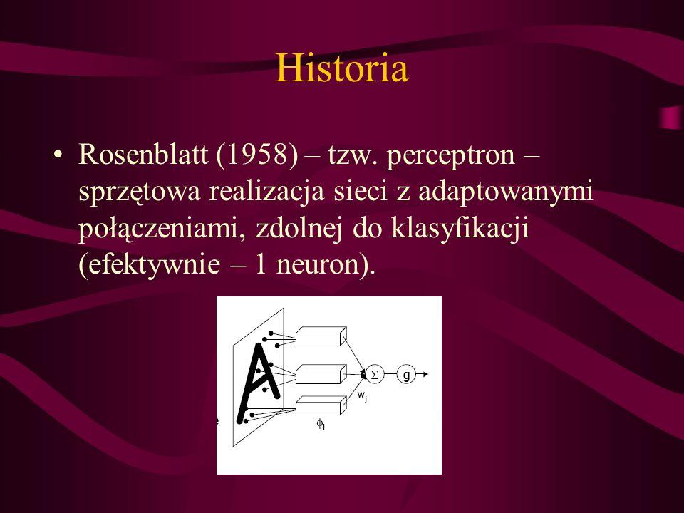 Historia Rosenblatt (1958) – tzw. perceptron – sprzętowa realizacja sieci z adaptowanymi połączeniami, zdolnej do klasyfikacji (efektywnie – 1 neuron)