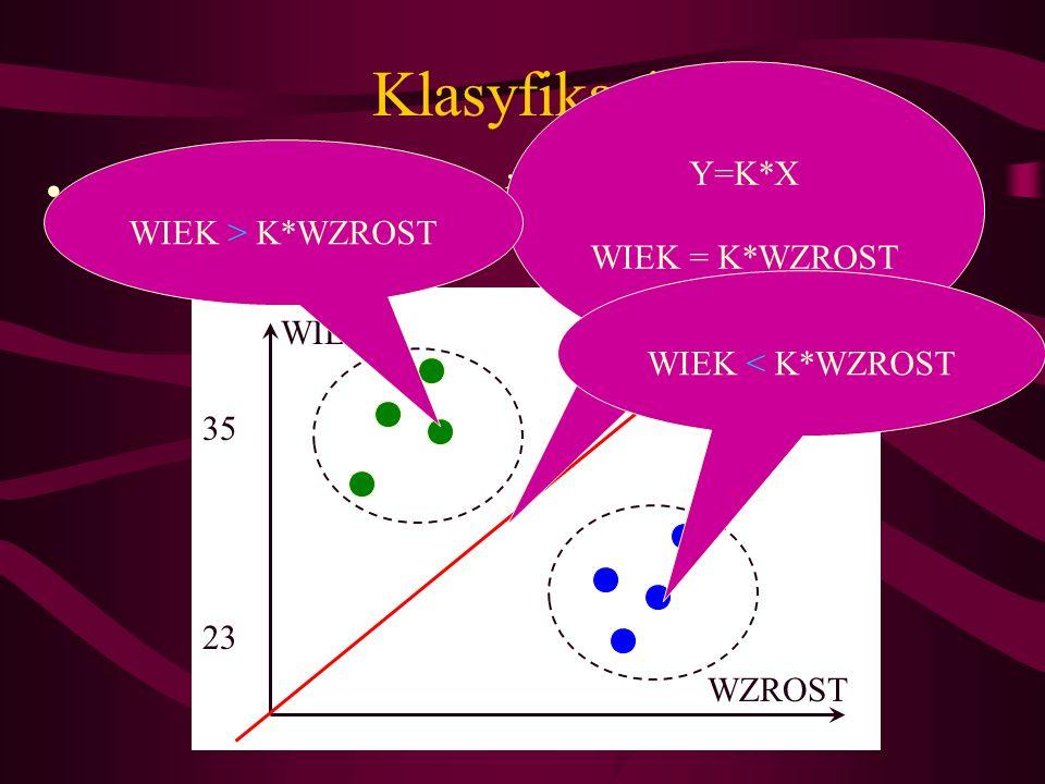 Klasyfikacja Wytyczenie granicy między dwoma grupami WIEK WZROST 35 23 Y=K*X WIEK = K*WZROST WIEK > K*WZROST WIEK < K*WZROST