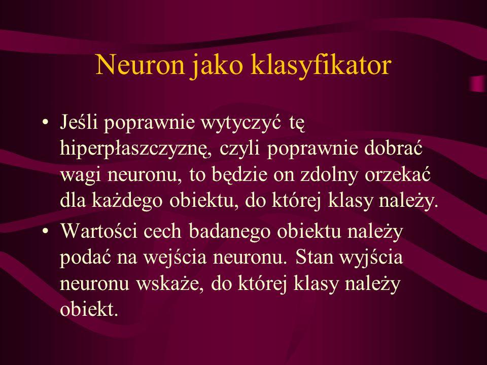 Neuron jako klasyfikator Jeśli poprawnie wytyczyć tę hiperpłaszczyznę, czyli poprawnie dobrać wagi neuronu, to będzie on zdolny orzekać dla każdego ob