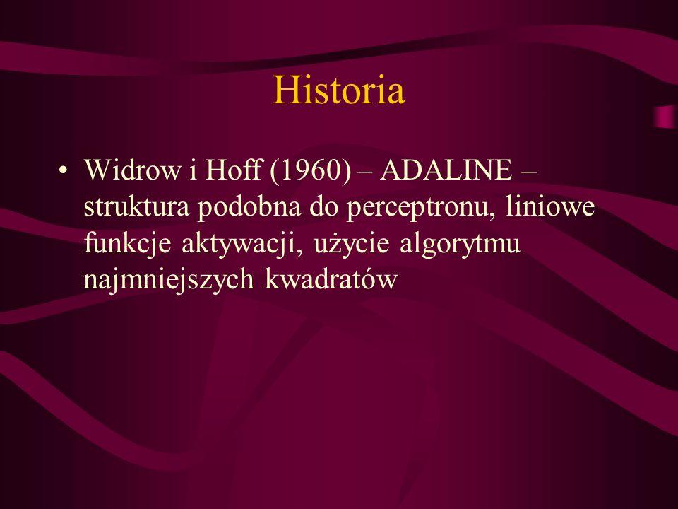 Historia Widrow i Hoff (1960) – ADALINE – struktura podobna do perceptronu, liniowe funkcje aktywacji, użycie algorytmu najmniejszych kwadratów