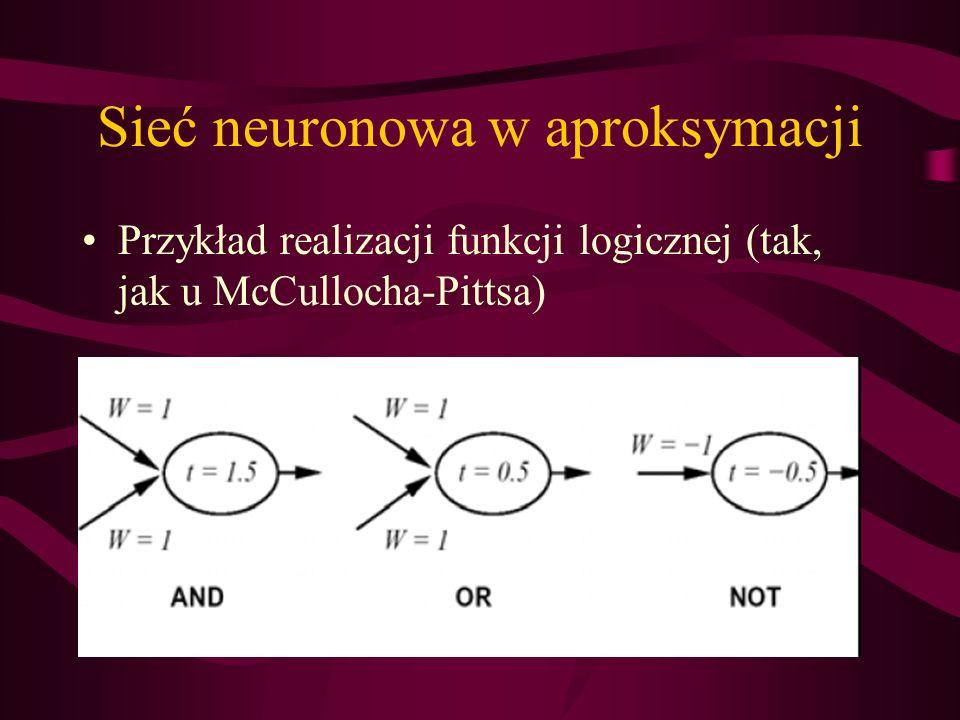 Sieć neuronowa w aproksymacji Przykład realizacji funkcji logicznej (tak, jak u McCullocha-Pittsa)