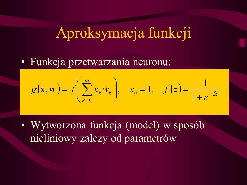 Aproksymacja funkcji Funkcja przetwarzania neuronu: Wytworzona funkcja (model) w sposób nieliniowy zależy od parametrów