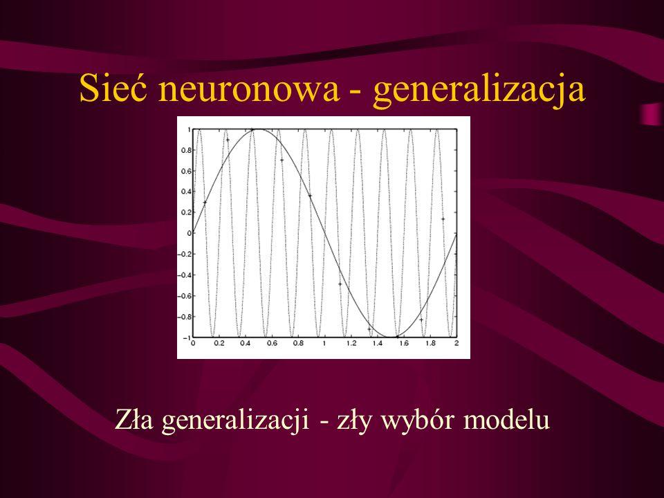 Sieć neuronowa - generalizacja Zła generalizacji - zły wybór modelu