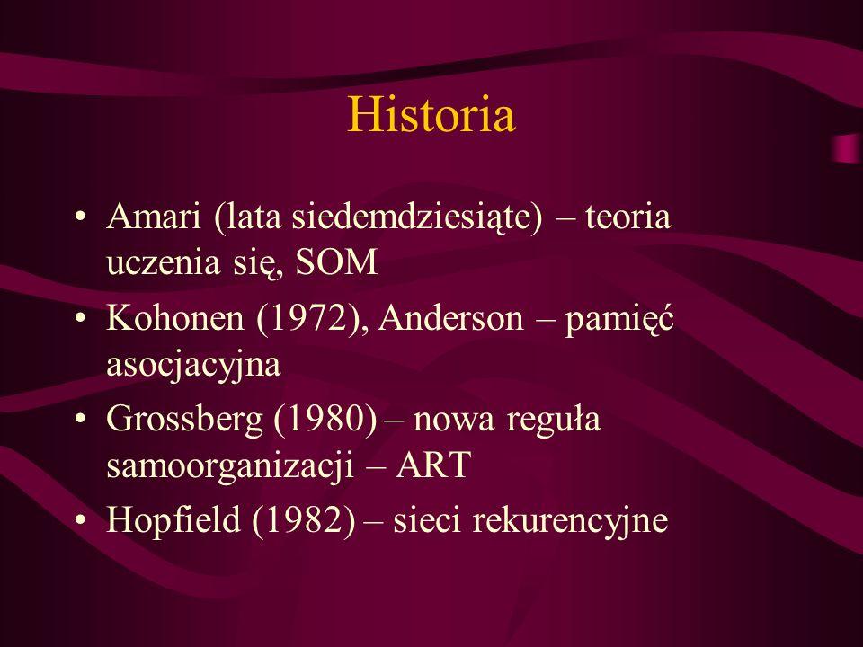 Historia Amari (lata siedemdziesiąte) – teoria uczenia się, SOM Kohonen (1972), Anderson – pamięć asocjacyjna Grossberg (1980) – nowa reguła samoorgan