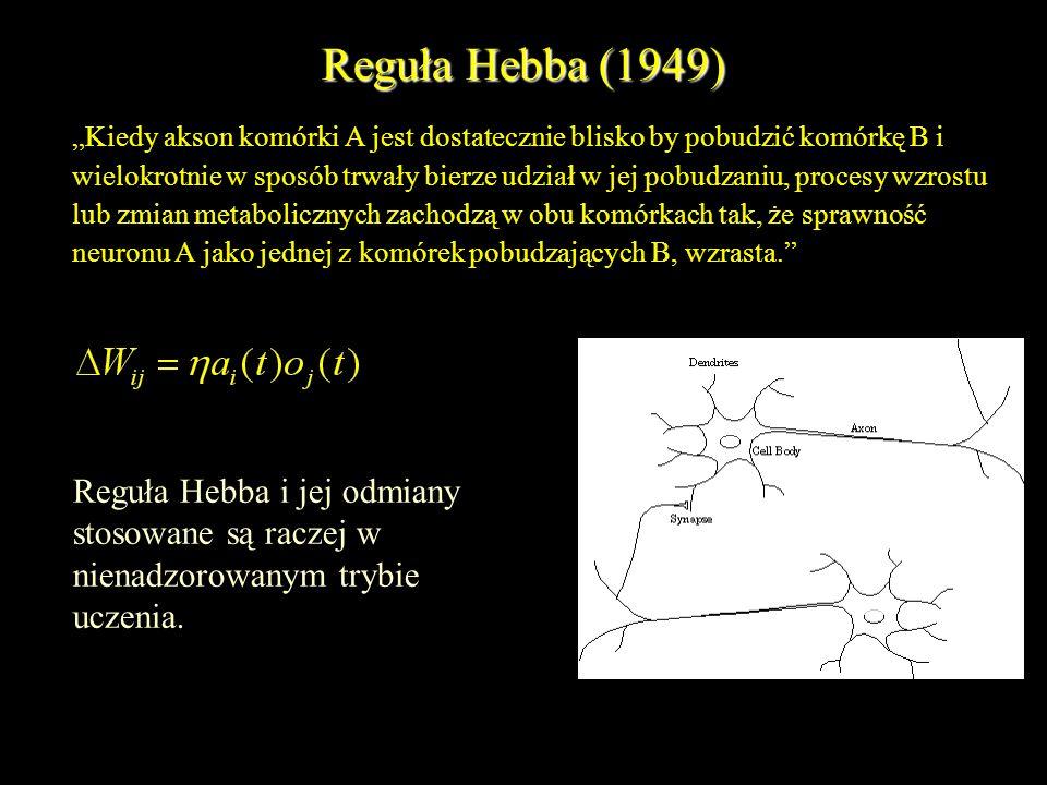 Reguła Hebba (1949) Kiedy akson komórki A jest dostatecznie blisko by pobudzić komórkę B i wielokrotnie w sposób trwały bierze udział w jej pobudzaniu