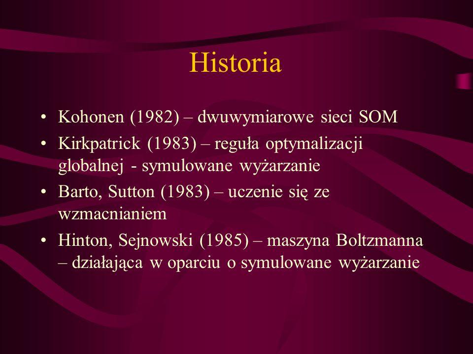 Historia Kohonen (1982) – dwuwymiarowe sieci SOM Kirkpatrick (1983) – reguła optymalizacji globalnej - symulowane wyżarzanie Barto, Sutton (1983) – uc