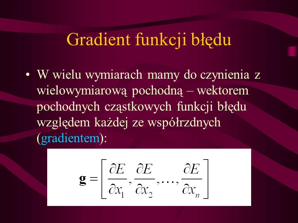 Gradient funkcji błędu W wielu wymiarach mamy do czynienia z wielowymiarową pochodną – wektorem pochodnych cząstkowych funkcji błędu względem każdej z