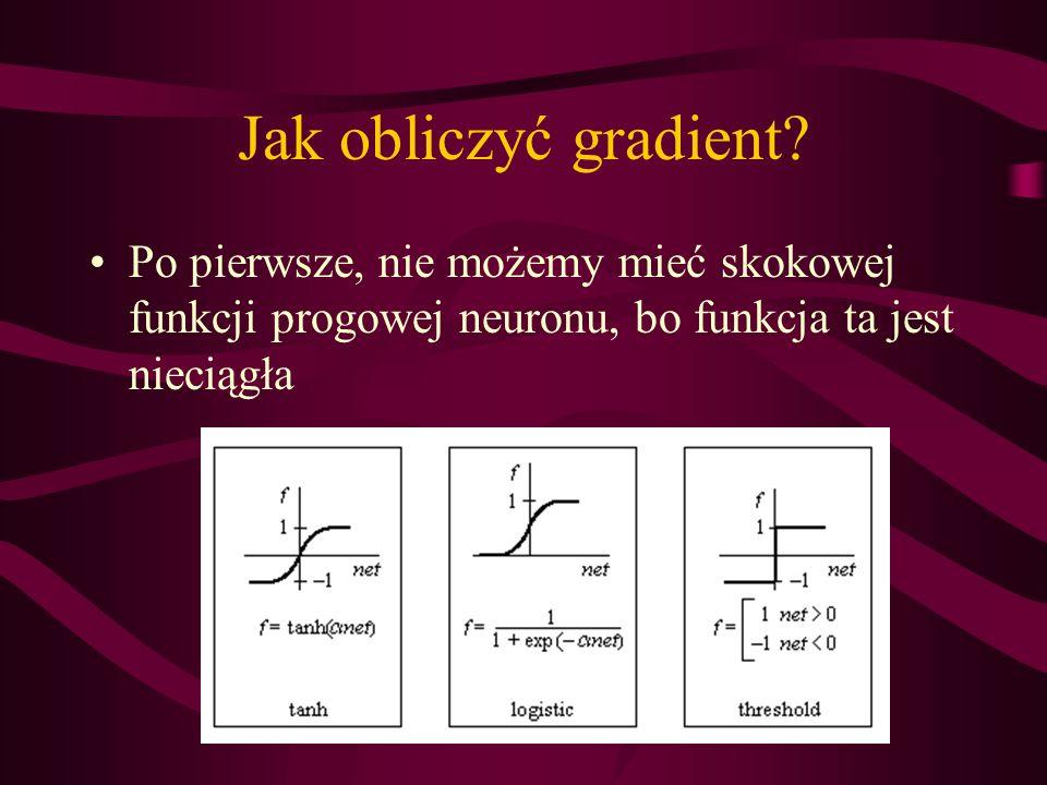 Jak obliczyć gradient? Po pierwsze, nie możemy mieć skokowej funkcji progowej neuronu, bo funkcja ta jest nieciągła
