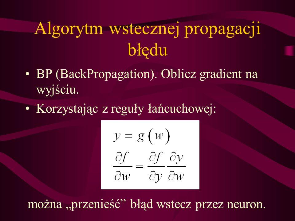 Algorytm wstecznej propagacji błędu BP (BackPropagation). Oblicz gradient na wyjściu. Korzystając z reguły łańcuchowej: można przenieść błąd wstecz pr