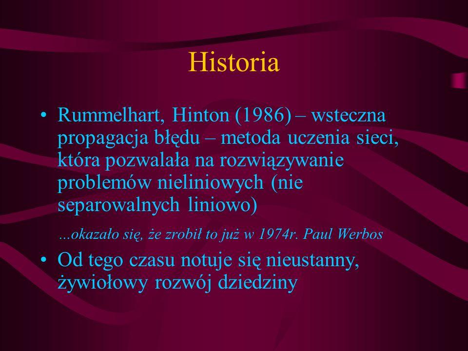 Historia Rummelhart, Hinton (1986) – wsteczna propagacja błędu – metoda uczenia sieci, która pozwalała na rozwiązywanie problemów nieliniowych (nie se