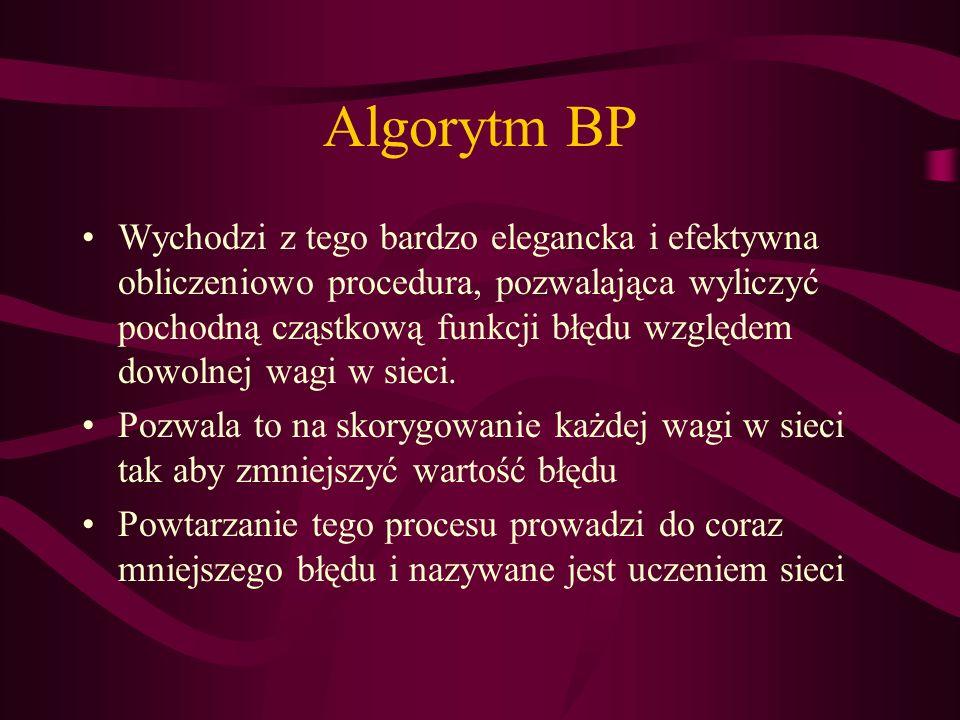 Algorytm BP Wychodzi z tego bardzo elegancka i efektywna obliczeniowo procedura, pozwalająca wyliczyć pochodną cząstkową funkcji błędu względem dowoln