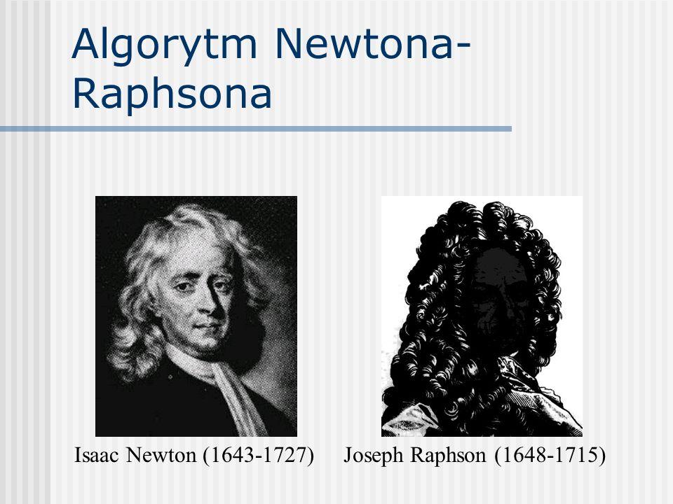 Algorytm Newtona- Raphsona Isaac Newton (1643-1727)Joseph Raphson (1648-1715)